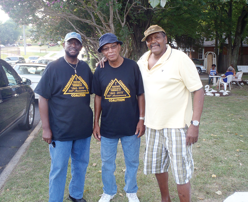 Ron Smith, Levis Pennix and Michael Love gather to celebrate Warnersville's 150th anniversary.